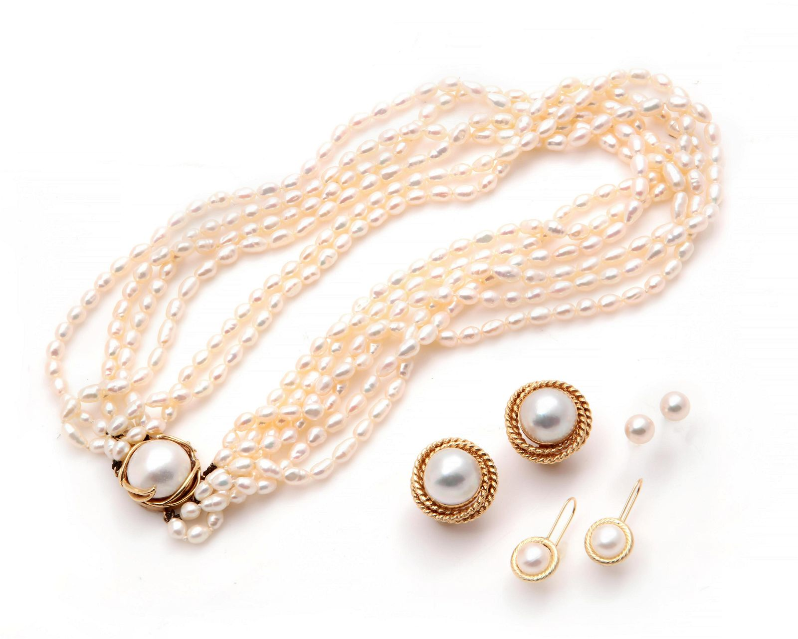 Seven pieces of cultured pearl & 14k gold jewelry