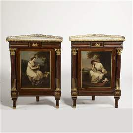 A pair of Louis XVI style  mahogany encoignures