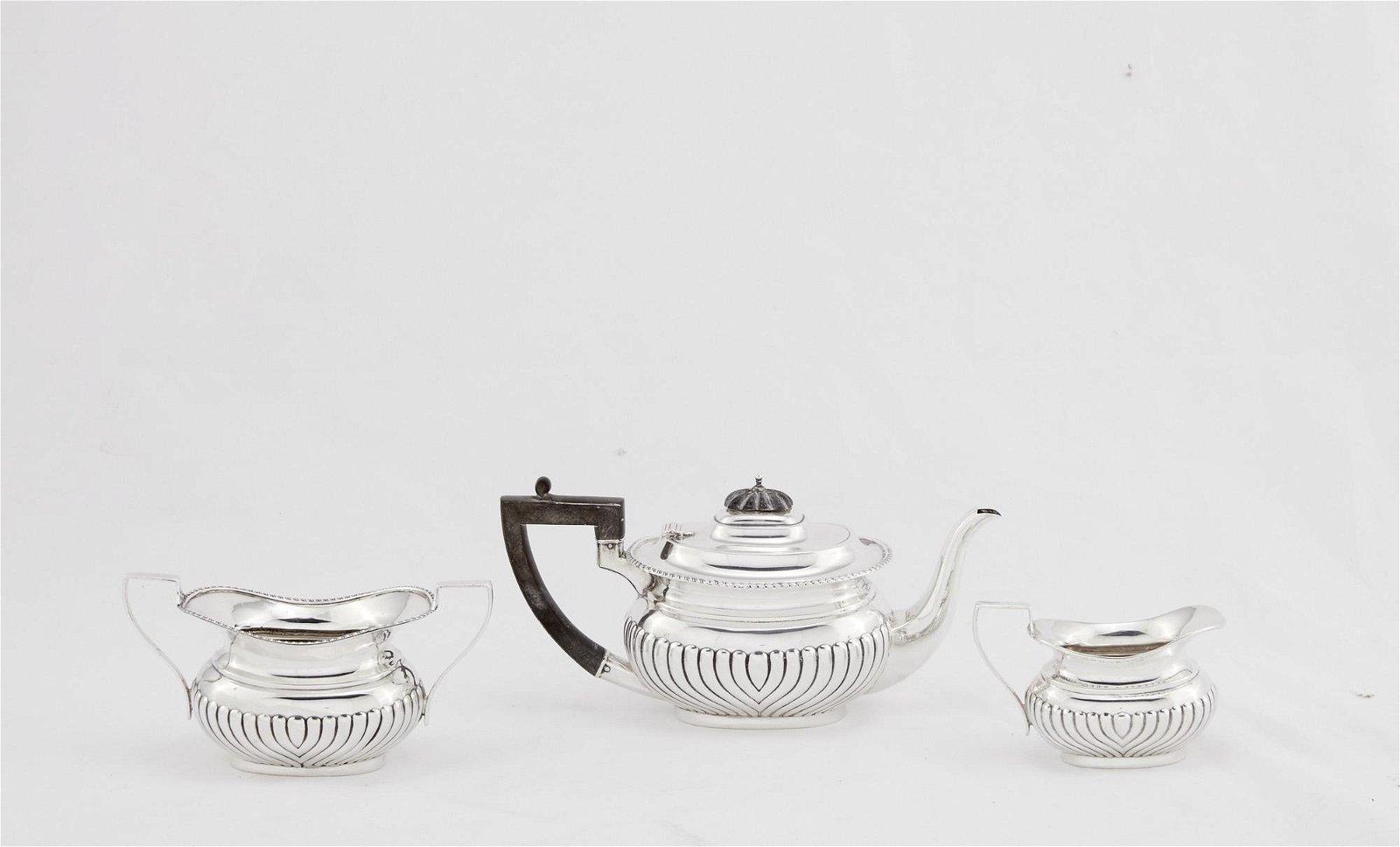 Irish George V sterling silver three piece tea set