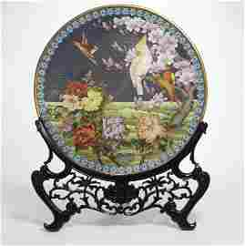 A large Chinese cloisonne enamel charger on stand