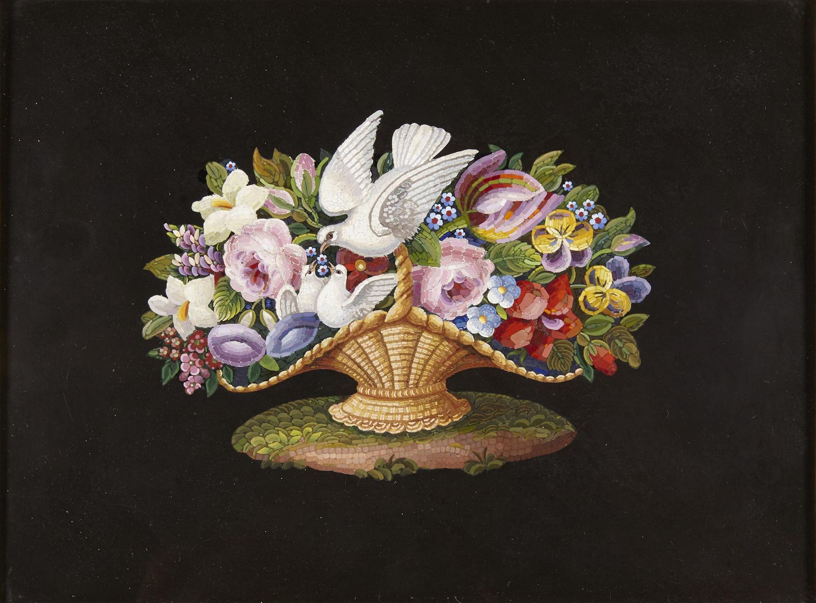 An Italian micromosaic three birds and flowers