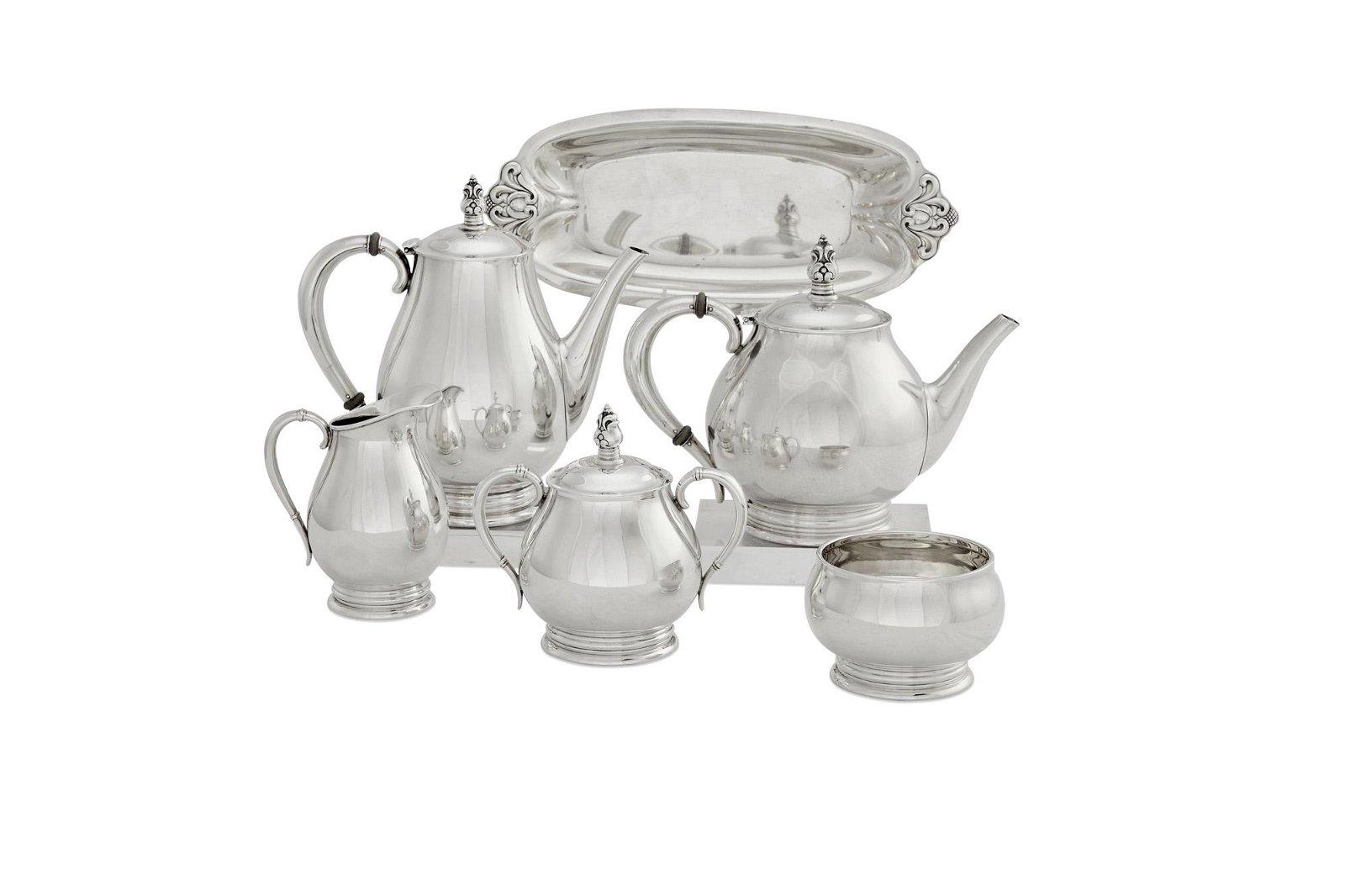 Royal Danish silver six piece tea service