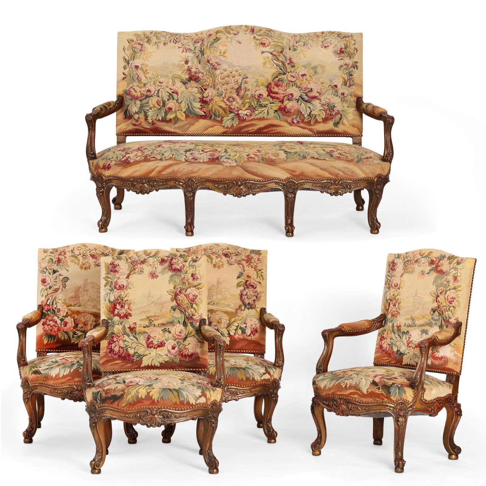 Suite of Louis XV style seat furniture