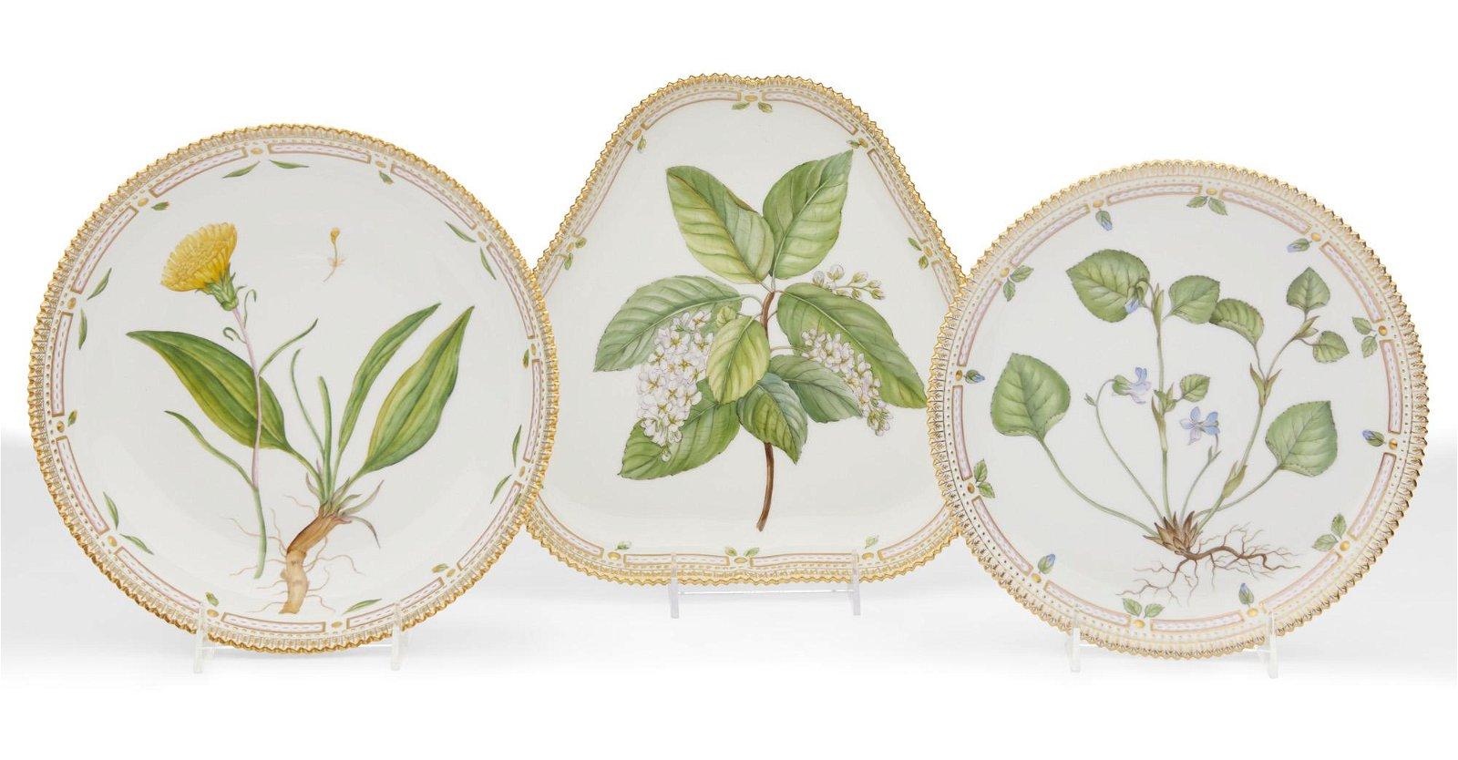 Three Royal Copenhagen Flora Danica serving dishes