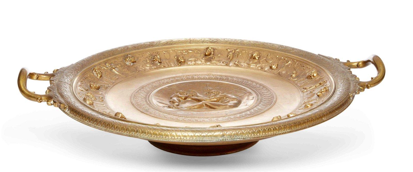 A large French gilt bronze tazza, Levillian