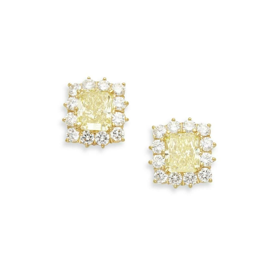 Pair of Fancy Yellow diamond & 18K gold ear studs