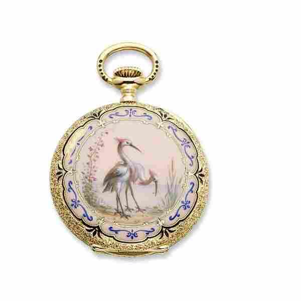 Patek Philippe: ladys enamel & 18K gold lapel watch