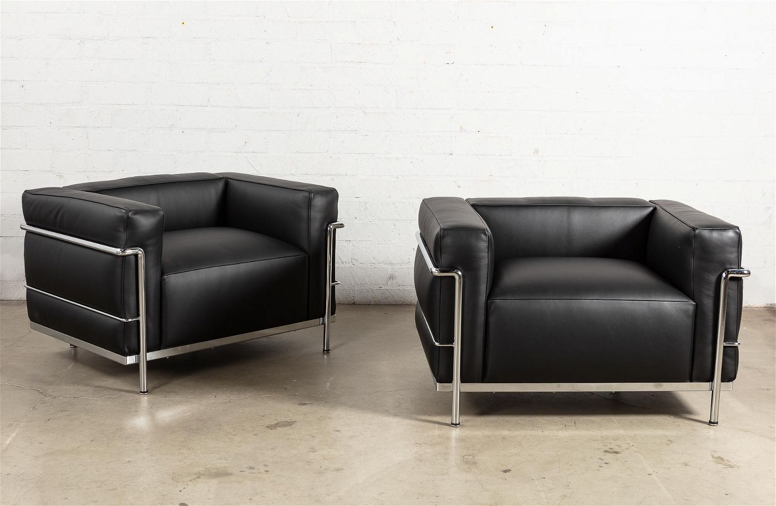 Pair of Italian chrome & leather club armchairs