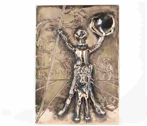 Salvador Dali, Don Quixote, bronze bas relief