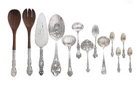 twenty two pieces of  silver flatware
