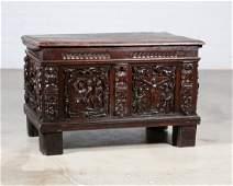 A Spanish Baroque chestnut coffer