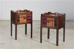 Pair  George III style mahogany bedside cupboards