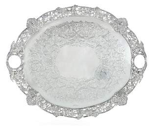 Edward VII sterling silver tray Charles Favell