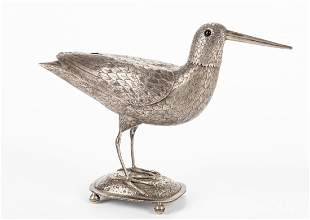 Dutch silver caster in the form of a snipe, 1891