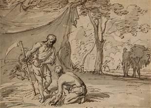 Adriaen Van de Velde, figures wash drawing