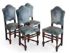 Four Continental Baroque walnut side chairs