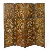 A Spanish leather four panel floor screen