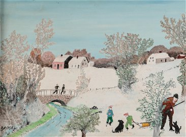 Anna Robertson (Grandma) Moses, The Bridge, 1958