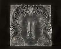 Lalique: a glass mask plaque: Masque de Femme