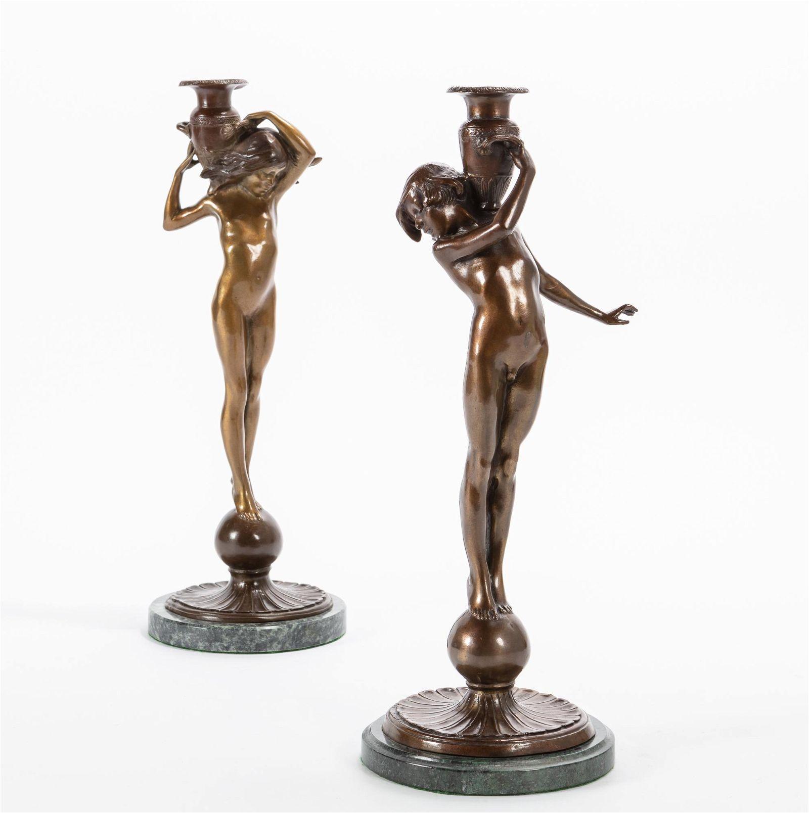 Edward Francis McCartan bronze candlesticks