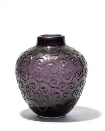 Daum Nancy: a cut dark amethyst glass vase