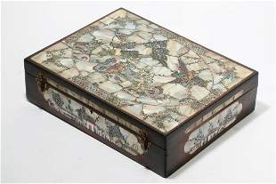 Chinese mother of pearl inlaid hardwood table box