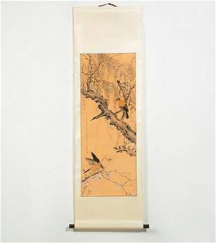 A Chinese watercolor scroll  Zhou Shouzi