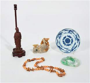 Seven Asian table articles and jewelry