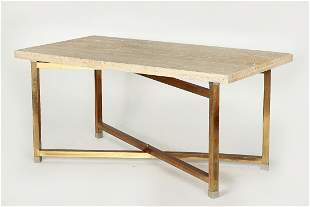 A travertine and brass dining table