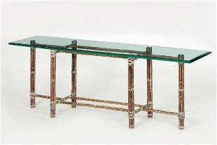 A bamboo and beveled plate glass console table