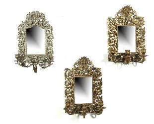 Three Neoclassical style mirrored wall sconces
