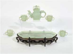 A seven piece Chinese hardstone tea service