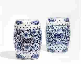 A pair of Chinese glazed porcelain garden seats