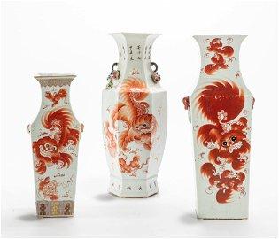 Three Chinese glazed vases