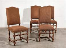 A set of four Baroque style walnut side chairs