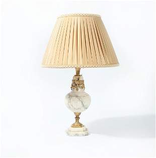 Neoclassical style gilt bronze, marble table lamp