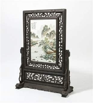 Chinese porcelain and ebonized wood table screen