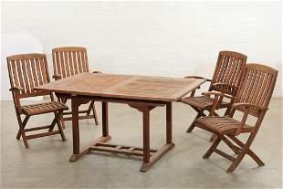 Suite of teak outdoor dining furniture, post 1950