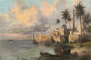 Continental, North African harbor at dusk, o/c
