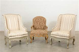 Pair of William Switzer Louis XV style armchairs