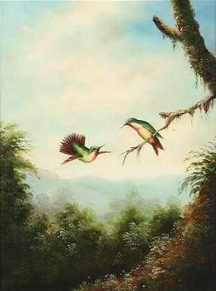 American School, Two hummingbirds, o/c