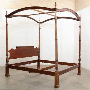 Federal style mahogany four post king size bed