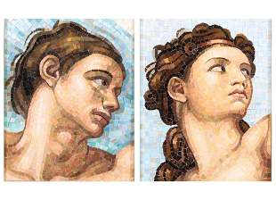 Pair Italian mosaic of Adam & Eve, Vatican Studio