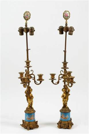 Pair of French gilt bronze & porcelain candelabra