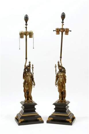 A pair of French bronze & slate figure lamps