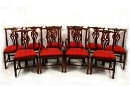 Ten George III style mahogany dining chairs