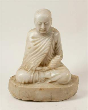 A Chinese  marble figure of a seated buddah