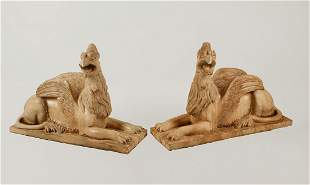 Pair of Neoclassical style marble winged griffins