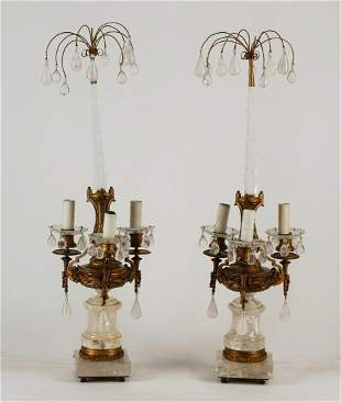 A pair of rock crystal & cut glass table lamps