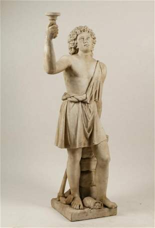 A Continental  marble figure of a youth